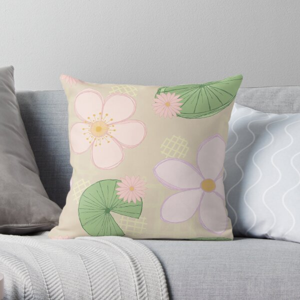 Zen Floral - Cherry Blossoms, Water Lilies and Lily Pads - Beige Throw Pillow