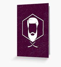 Hipster man hair, beard. Greeting Card