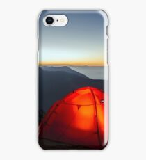 lit up tent at sunset iPhone Case/Skin