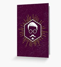 Hipster man hair, beard Greeting Card