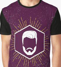 Hipster man hair, beard. Graphic T-Shirt