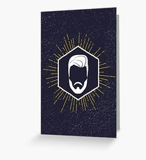 Hipster man hair and beard Greeting Card