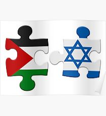 Israel and Palestine Conflict Flag Puzzle Poster
