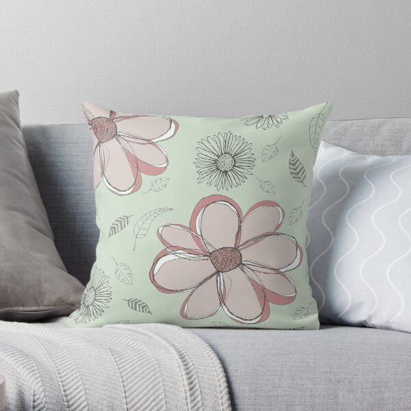 Sketched Botanicals Throw Pillow