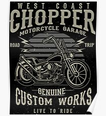 Chopper Motorcycle Retro Vintage Poster