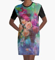 Still Life with Roses Graphic T-Shirt Dress