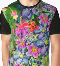 Fresh Colorful Spring Flowers - Cool Girly Green Floral Pattern Graphic T-Shirt