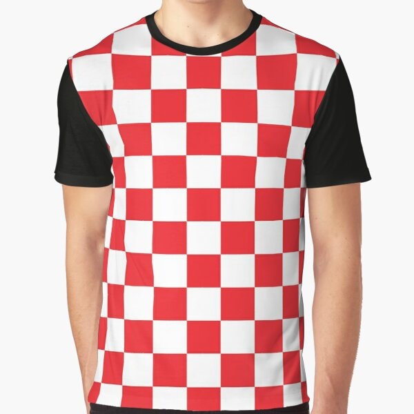 Red Checkered Pattern Graphic T-Shirt