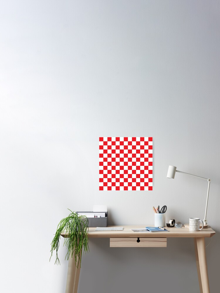 Red And White Check 5/' x 3/' Large Sleeved Flag