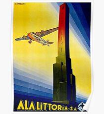 ITALY : Ala Littoria Vintage 1935 Fascist Airline Print Poster