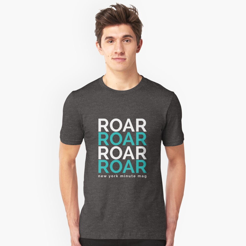 Roar- white and blue Unisex T-Shirt Front