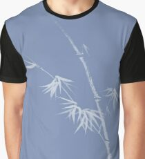 White Bamboo stalk on light blue background minimalistic design in oriental Zen style art print Graphic T-Shirt