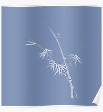 White Bamboo stalk on light blue background minimalistic design in oriental Zen style art print Poster