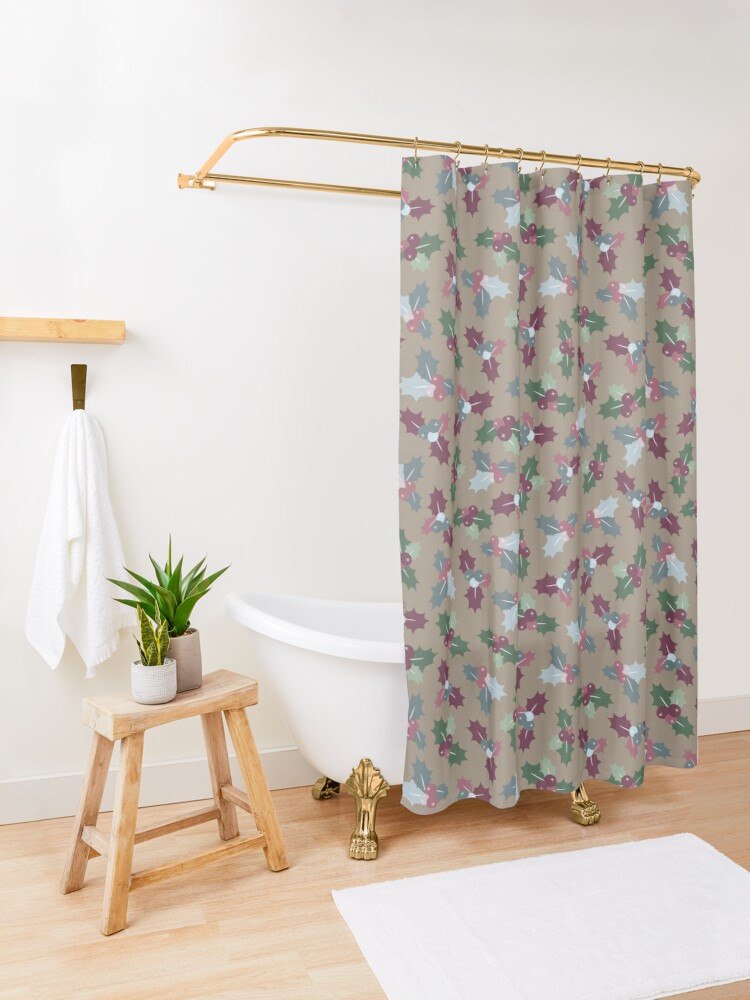 Alternate view of Holly Christmas Pattern Shower Curtain