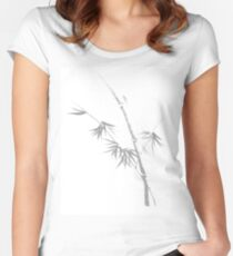 Delicate design Bamboo stalk with young leaves Asian style Zen illustration on white background art print Women's Fitted Scoop T-Shirt