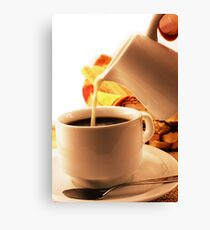 Un delicioso desayuno café con leche Canvas Print