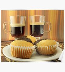 Coffee for two plus a plate of muffins Poster