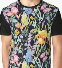 seamless pattern flowers irises Graphic T-Shirt