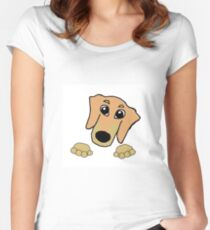 dachshund fawn and tan peeking Women's Fitted Scoop T-Shirt