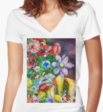Colorful Cool Floral Pattern Design Women's Fitted V-Neck T-Shirt