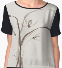 Wild orchid flowers Delicate refined Zen style floral design on light beige background art print Women's Chiffon Top