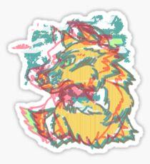 GLITCH WOLF EXPERIMENTAL SKETCH Sticker