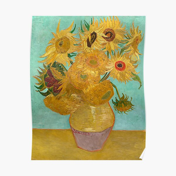 Florero con doce girasoles de Vincent Van Gogh 1889 Póster
