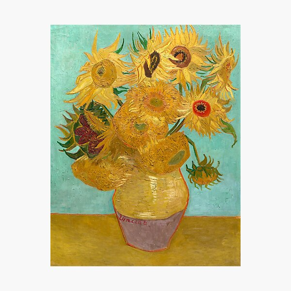 Vase with Twelve Sunflowers by Vincent Van Gogh 1889  Photographic Print