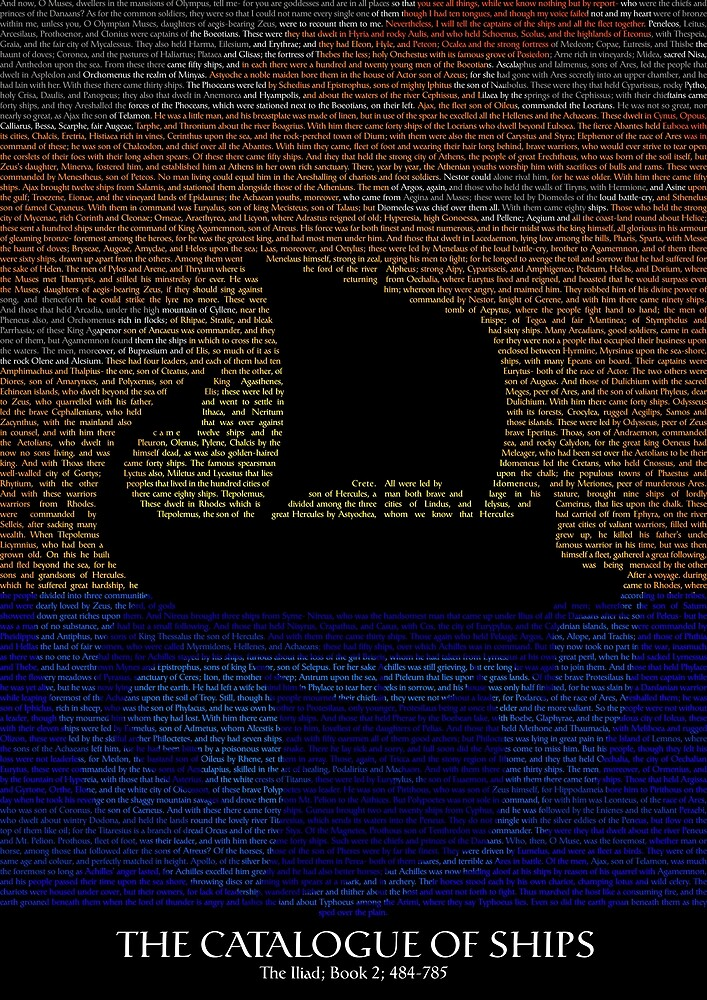 The Iliad - Catalogue of Ships Typography by dagaz