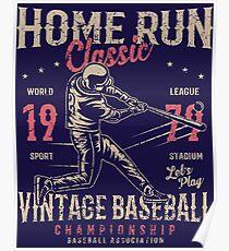 Baseball Home Run Retro Vintage Poster