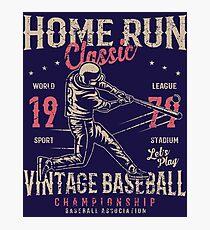 Baseball Home Run Retro Vintage Photographic Print
