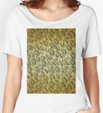 Gold leaves pattern Women's Relaxed Fit T-Shirt