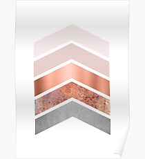 Blush and Rose Gold Chevrons Poster