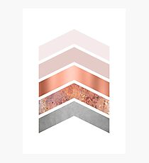 Blush and Rose Gold Chevrons Photographic Print