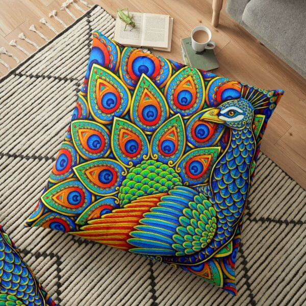 Colorful Paisley Peacock Rainbow Bird Floor Pillow