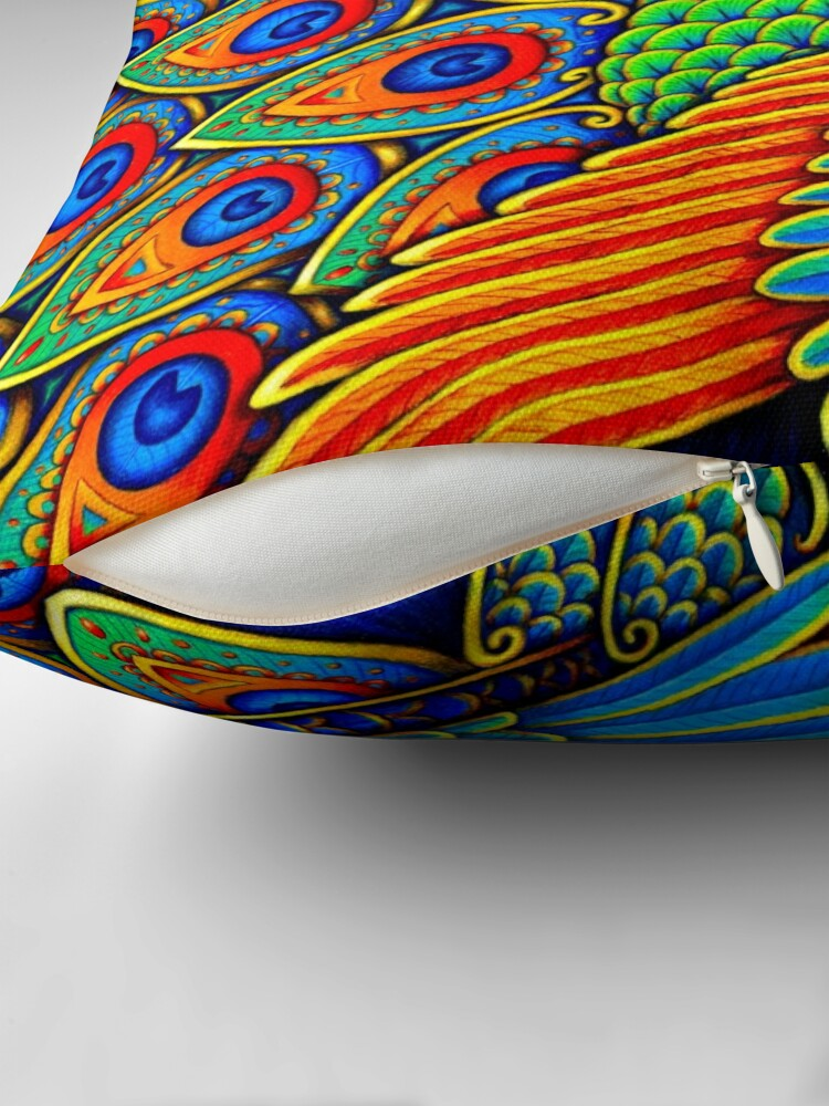 Alternate view of Colorful Paisley Peacock Rainbow Bird Floor Pillow
