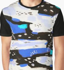 Spotted Abstract - Neon Blue Graphic T-Shirt