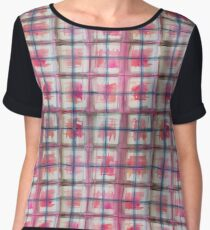 Reds and Greys Watercolor Plaid Pattern Women's Chiffon Top