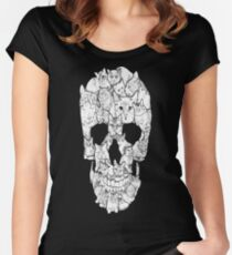 Sketchy Cat Skull Women's Fitted Scoop T-Shirt