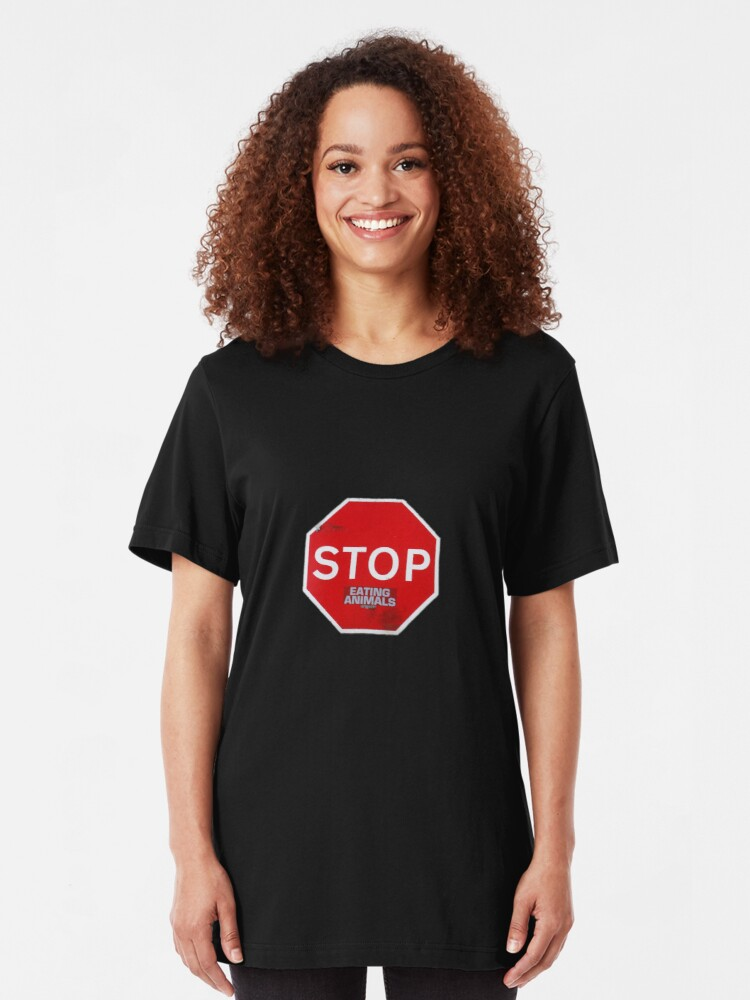Alternate view of Stop Eating Animals T-Shirt Slim Fit T-Shirt
