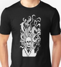 smoking skeleton white T-Shirt