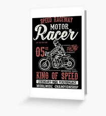 Motorcycle Racer Retro Vintage Greeting Card