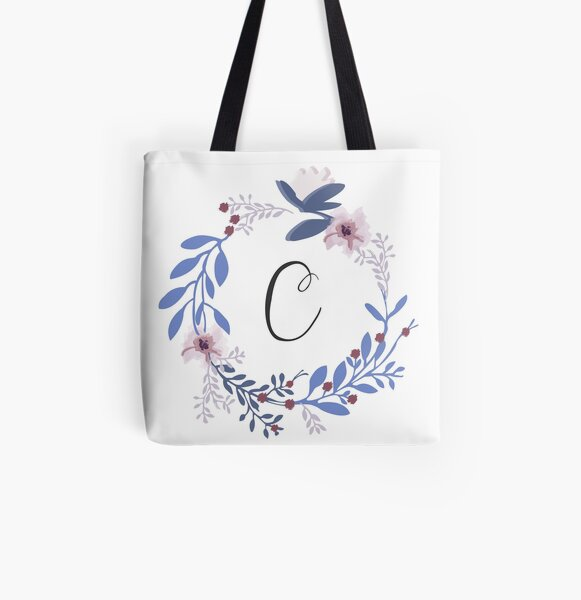Flowers and the Letter C All Over Print Tote Bag