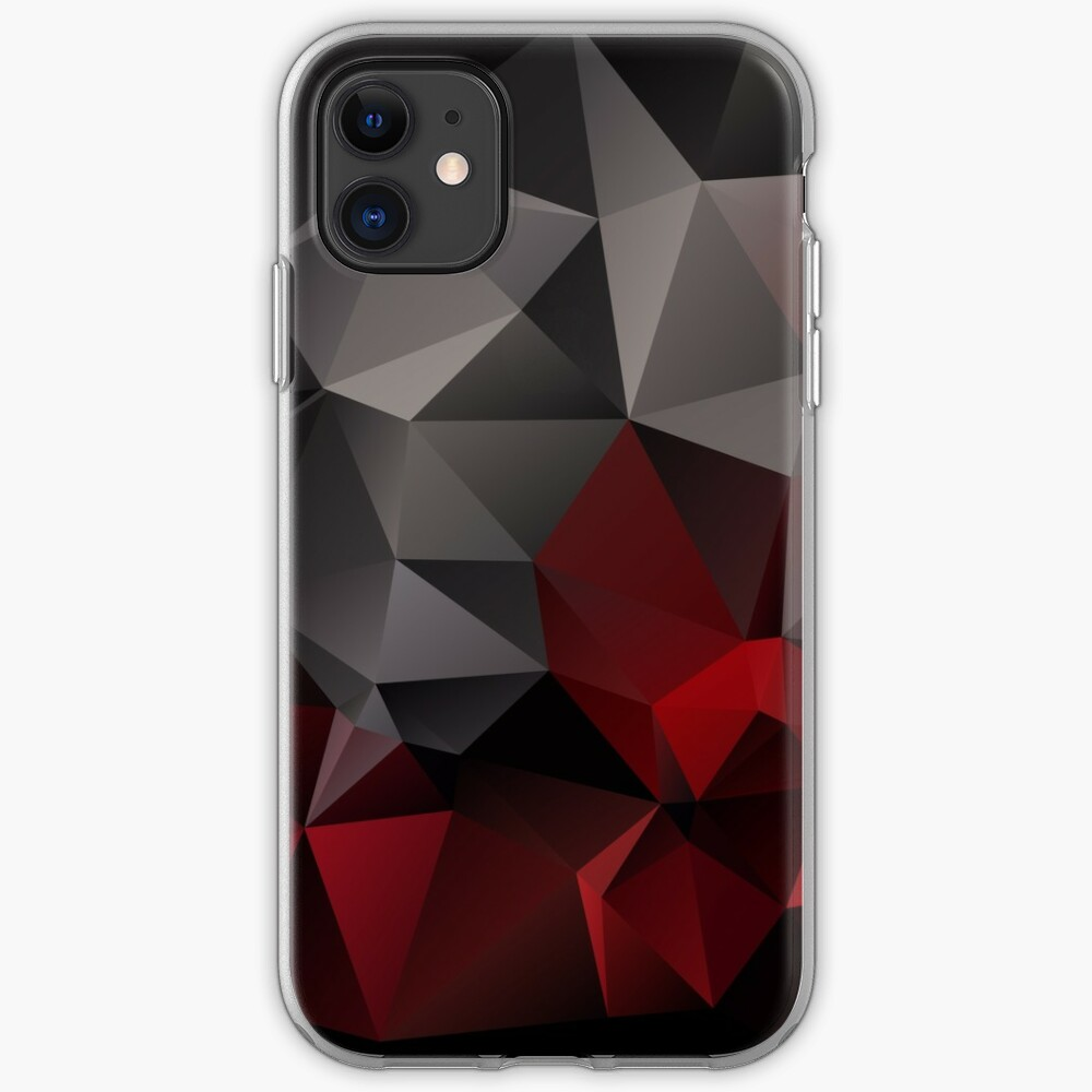 Abstract Background Of Triangles Polygon Wallpaper In Black Red Colors Iphone Case Cover By Fuzzyfox Redbubble