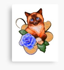 cat with a blue rose Canvas Print