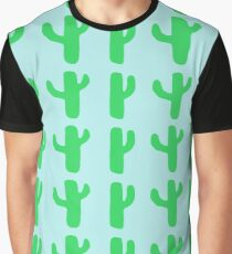 Green Cacti on Light Blue Graphic T-Shirt