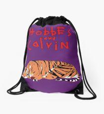Hobbes and Calvin logo Drawstring Bag