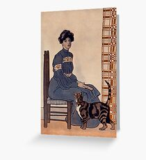 Lady sitting with cat 128 Greeting Card