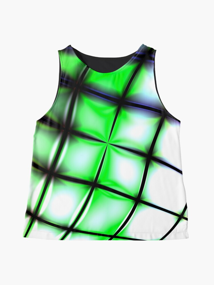 Alternate view of Green bended grid Sleeveless Top