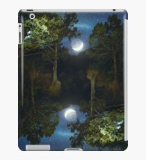 Moonset in coniferous forest iPad Case/Skin